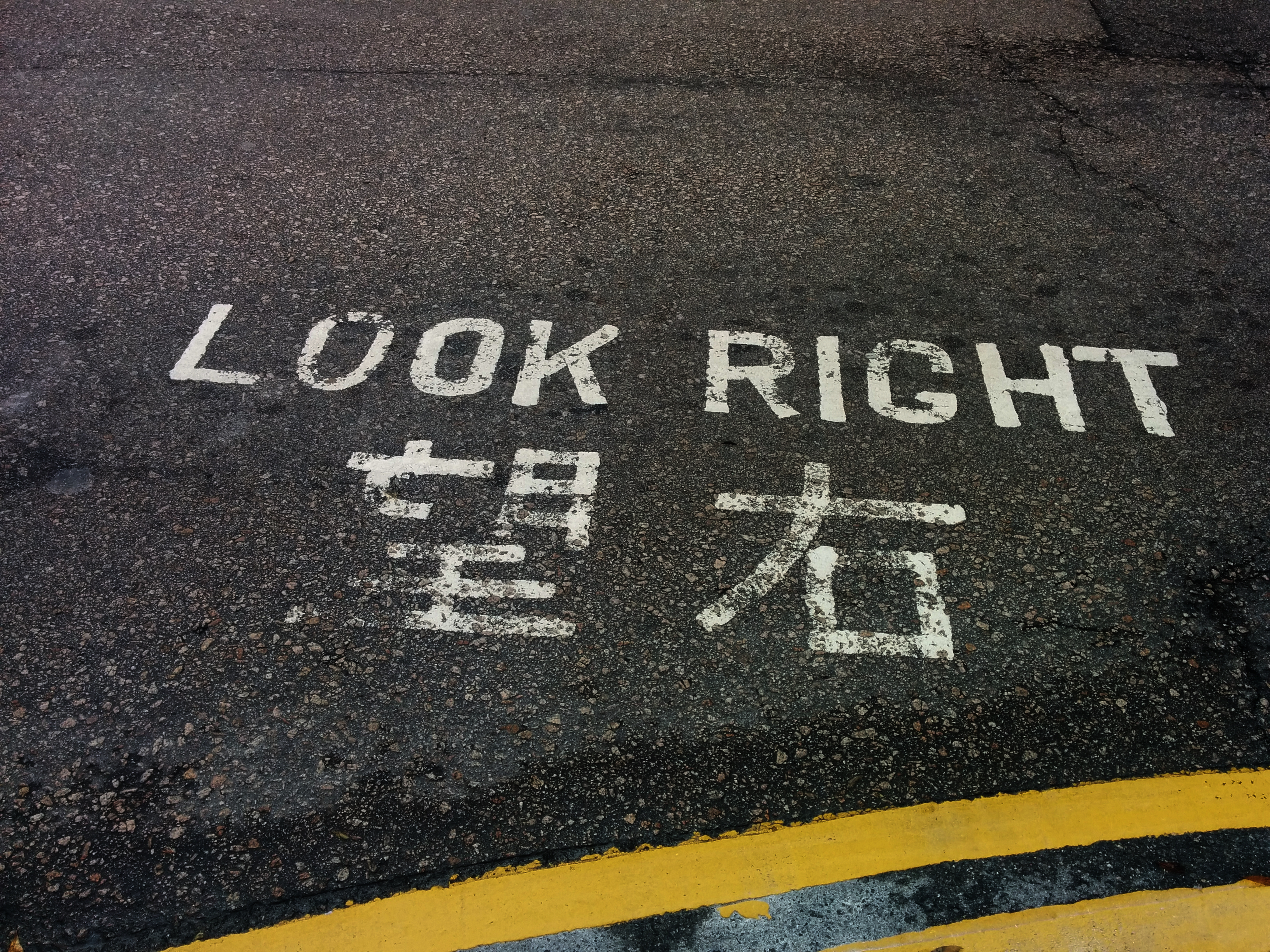 Look Right painted on a street.